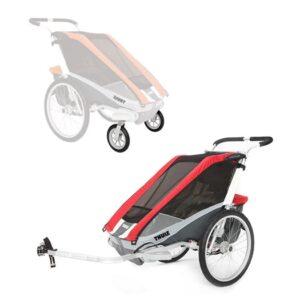 Thule Chariot Cougar 1 cykelvagn + cykel- & promenadkit, röd