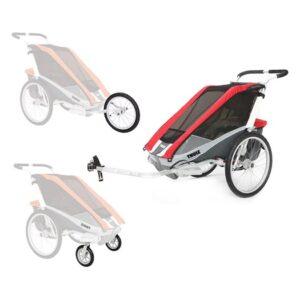 Thule Chariot Cougar 1 cykelvagn + cykel-, jogging & promenadkit, röd