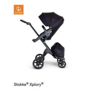 Stokke Xplory V6 sittvagn, black/svart läder