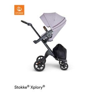 Stokke Xplory V6 sittvagn, brushed lilac/brunt läder