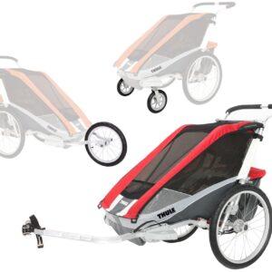 Thule Chariot Cougar 2 med Cykel-, Jogging- och Promenadkit, Röd