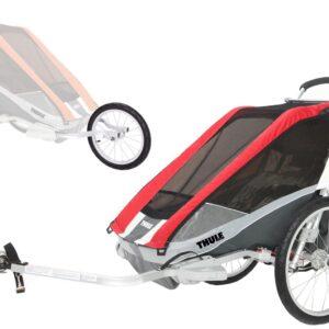 Thule Chariot Cougar 2 med Cykel- och Joggingkit, Röd